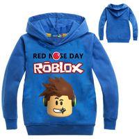 deportes trajes niños al por mayor-2017 Roblox Shirt for Boys Sudadera Red Noze Day Costume Niños Sport Shirt For Kids Hoodies Camisa de manga larga T-shirt Tops