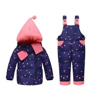 Wholesale Wholesale Boys Formal Wear - Baby girls boys winter down clothes set Suitable 10-24 months kids Cute diy snow wear thicken down jacket+overalls two pcs suit