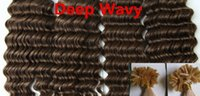 AAAAA Deep Wavy 1g * 200s 10-28 '' Nail U Tip Prebonded Black Brown Blonde Mixed Ombre Color 100% Real Indian Remy Extensiones de cabello humano