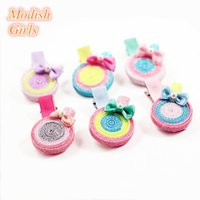 Wholesale Round Shape Hair - New Glitter Sugar Loaf Shape Cute Lollipop Hairpins Blilnk Round Kids Barretts Hotsale Girls Hair Clips Lovely Colors Barrettes