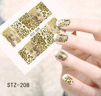 Wholesale Leopard Print Decals - Wholesale- 1pcs Water Transfer Nails Sticker Sexy Leopard Print Design Nails Foil Sticker Decor Decals STZ208