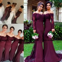 Discount button front lace dress - Vintage Lace Burgundy Off-shoulder Long Sleeve Mermaid Bridesmaid Dresses 2016 Custom Make Dubai Arabic Style Wedding Party Guest Dress
