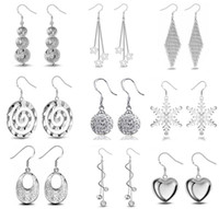 Wholesale Wholesale Snowflake Charms Free Shipping - 925 Sterling Silver Dangle Chandelier Earrings Small Solid Heart snowflake Charm Earring for women jewelry Free Shipping