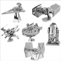 Wholesale Wood Model Kits For Adults - Wholesale-STAR WARS XWing Star Fighter Building Kits 3D Scale Models DIY Metallic Nano Puzzle Toys for adult kids, 1PC PRICE NO TOOL