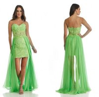 Wholesale Waist High Low Prom Dress - Chiffon High Low Homecoming Dresses Sweetheart Sheer Waist Lace Appliques Kelly Green 2017 Vestidos de fiesta Prom Gowns Cheap Custom Made