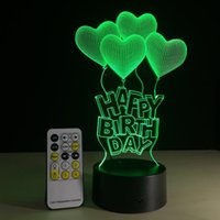 Wholesale Diy Table Usb - New 3D LED Lamp 7 Color Changing USB Visual Illusion LED Night Light Luminaria Table Of Birthday Party