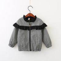 Wholesale Baby Ruffle Jacket - Clothing Autumn 2017 Baby Girls Plaid Jackets Kids Girls Fashion Ruffles Outwear Babies Casual Zipper Cardigan Girls Jackets