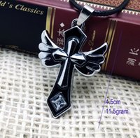 Wholesale Crosses For Necklaces Wholesale - Free shipping 4.5cm long Angel wing cross pendant for men emamel black and silver cross pendant necklace double cross jewelry for women