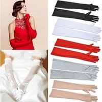 Wholesale Women Long Opera Gloves - Satin long finger elbow sun protective gloves opera party party clothing fashion gloves free shipping HU63