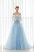 Wholesale Cheap Light Blue Bridal Gowns - Vintage Luxury Wedding Dresses 2017 Off Shoulder Lace Appliques Beaded In Stock Cheap Real Photo Light Blue Watteau Bridal Gowns Vestidos