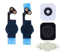 düğme ayırıcısı toptan satış-Ev düğme tuş takımı Menü + flex kablo + tutucu conta kauçuk + metal spacer iphone 5 5G için Ev Düğmesi Seti