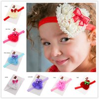 Headbands other other Wholesale 16pcs Heart Flower headband Cheap Hair Bows Newborn Photo Prop Headwrap Christmas Gift Little Girls Hair accessories Baptism Git