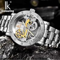 Wholesale ik watches men resale online - Men s watch IK Colouring Hollow Automatic Mechanical Watch with Stainless Steel BracelTransparent Unique Full Steel Man Watch M waterproof