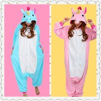 Wholesale Adult Cotton Candy Costume - Christmas Halloween Blue Pink Candy Unicorn Onesie Carnival Costumes for Adults Women Men Fleece Party Pajamas Dresses Sleepwear