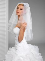 Wholesale Real Garments - New Hot Fashion Real Image Line Edge Two Layers With Comb Lvory White Elbow Wedding Veil Bridal Veils
