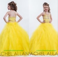 Wholesale Halter Princess Pageant Dresses - 2016 Girl's Pageant Dresses Flower Girls Gown Princess Communion Party Kids Halter Backless Beads Sequins Yellow Royal Blue Tulle