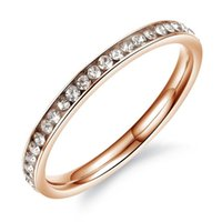 Wholesale gold wedding band price for sale - Group buy 2019 Fashion Women Party Rings Bands Classical Three Colour Stainless Steel Full Crystal Jewelry Cheap Price