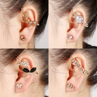 Wholesale Gold Skull Ear Cuff - Wholesale Punk Ear Clips Fashion Personality Crystal Skull Flower Leaf Earrings Cuffs for Women Clip On The Ears Ear Cuff Jewelry Pendientes