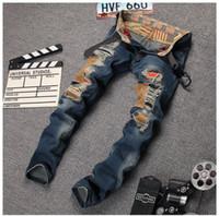 Wholesale Western Coats Plus Size - western designer 2016 mens fashion jeans cotton top quality slim brand luxury Straight men hole Zipper jeans blue denim trousers