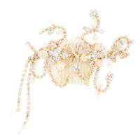 Wholesale Lady Fascinators - 2016 Gold Hair Accessories Bridal Beading Crystal Sexy Ladies Headpiece Sexy Ladies Hair Accessories Headpiece Cheap Modest Hot Sale