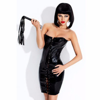 Wholesale Sexy Babydoll Back - High Quality Sexy Corset Dress Black Vinyl Shape Waist Lady Sexy Babydoll Vinyl Faux Leather Back Lace-Up Corset Dress S-XL W7957
