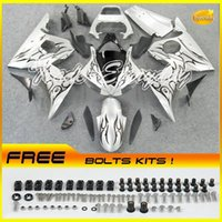 Wholesale Yamaha Silver Flamed Fairing - Injection Mold Fairing Kit Fits For YZF600 R6 2003-2005 YZF 600R6 03-05 Black Flame Silver 10V36
