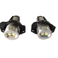 Wholesale 12v 24v Plug - 2PC X E90 E91 6W LED Angel eyes Ring 12V 24V Automotive Car Light Play and Plug for BMW original replacement