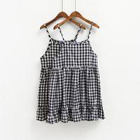 Wholesale Smmer Dresses - harajuku women dresses raock smmer dress 2017 korean black dress new plaid doll camisole kawaii womeun dress cute beach dress