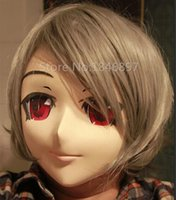 Wholesale New Japanese Male Half Silicone - 2016 handmade male silicone half head face anime KIG masks new arrival kigurumi cosplay crossdresser anime role can be customize