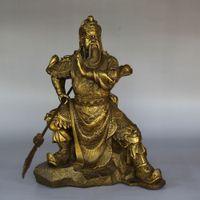 Wholesale Bronze Warrior Statues - Chinese FengShui Pure Bronze Warrior God GuanGong GuanYu big knife Statue