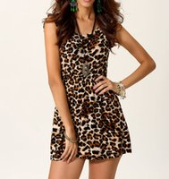 Wholesale Mini Crew Neck Leopard - Hot selling free shipping sexy ladies mini dress above knee length crew neck leopard printed sleeveless column for summer