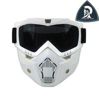 Wholesale Xxl Helmet Modular - 2016 New Design Vintage White Riding Detachable Modular Face Mask Shield Goggles for Motorcycle Open Face Helmet 3 4 helmet