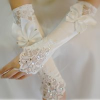 Wholesale Wedding Dresses Long Gloves - Ivory Satin Bridal Gloves Beads Lace Cheap Fingerless Long Ladies Dress Glove Bow Fast Shipping Wedding Accessories
