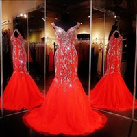 Wholesale Sequins Crystal Beaded Gown - Cheap Pageant Dresses Mermaid Red Carpet Dresses Beaded Adult Pageant Gowns Off the Shoulder Beaded Prom Dresses Evening Wear