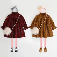 Wholesale Tutu Stand Wholesale - 2017 New Korean Style Girls dress Autumn leaf Printed Long Sleeve Children Princess Dresses Ruffle Stand Collar Kids Party Dress C1892
