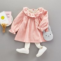 Wholesale Top Little Girl Dresses - Girls Ruffle Collar Dresses Tops with Pom Fringe 2017 Fall Kids Boutique Clothing Little Girls Long Sleeves Dresses with Bag