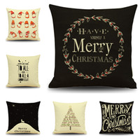 Wholesale Yarn Santa - Merry Christmas Pillow Case 45*45CM Linen Q Style Santa Claus Pillow Cases Christmas Gift Throw Pillow Cases