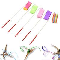 Wholesale Gym Stick - 200pcs Wholesale 2016 Colors 4M Gym Dance Ribbon Stick Rhythmic Art Gymnastic Streamer Baton Twirling Rod ZA0927