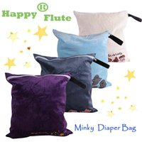 Wholesale Cloth Nappy Minky - Happyflute 1 piece 40*43cm Minky Embroidered wetbag Nappy Reusable Washable Wet Dry Cloth Zipper Waterproof Diaper Bag