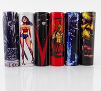 Wholesale E Cig Stickers - The 18650 battery protected wrapper Throne of Game battery skin sticker for e cigarette battery e cig Wonder Woman Lich King