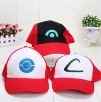 Wholesale anime pikachu hat - New Arrival Poke Pikachu Ash Katchum Hat Cosplay Red White Blue Anime Plush Toys