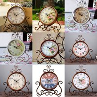 Wholesale wholesale home decor vintage style - 16 Style Vintage Metal Round Clock Creative Home Living Room Bedroom Decor Table Floor Clocks In Stock Free DHL WX9-43