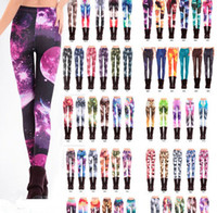 Wholesale Wholesale Galaxy Legging - Black milk Women leggings New mix style 3D Digital skull Adventure Time Van Gogh Starry Night Galaxy Print elastic Legging for ladies