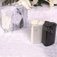 corações dobro que wedding favores venda por atacado-DHL FREE SHIPPING 200PCS(100Sets) Double Hearts Salt & Pepper Shakers Bridal Shower Pratical Wedding Favors Marriage Souvenirs