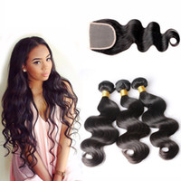 Wholesale Dark Blonde Human Hair Extensions - Brazilian Body Wave Hair Bundles Unprocessed Human Hair Weaves With Closure Natural Black Color Can Be Dyed Bleached Hair Extensions