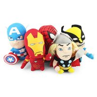 "Wholesale Iron Man Games - 5Pcs lot 5 Styles The Avengers Captain American Iron Man Spider Man Batman Plush Soft Stuffed Doll Toy 7"" 18cm Free Shipping"