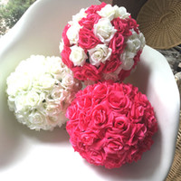 Wholesale plastic bouquet - 6-24inch (15-60cm) free shipping silk rose artificial plastic flower kissing ball for wedding party garden decoration display flower ball