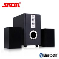 Wholesale wooden pc speakers - Wholesale- SADA Q1 Multi Function Wooden Subwoofer Stereo Bass PC USB Bluetooth Wireless Speaker Computer Speakers Support TF Card U Disk