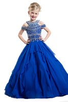 Wholesale Spaghetti Bodice Girls Dress - 2016 Off Shoulder Bodice Royal Little Girl Pageant Dresses Crystal Flower Girl Gown for Wedding Princess Custom Made Long Kids Party Dresses