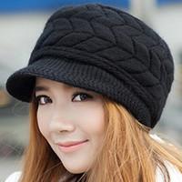 Wholesale Wholesale Flat Brim - 2017 Winter Women Hat Luxury Knitted Hats Female Soft High Elastic Warm Caps Beanies Headgear Girl Cap Solid Color